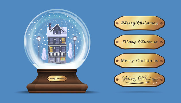 Snow globe with a house under the snow. Glass sphere on an elegant wooden stand with interchangeable gold sign with congratulatory inscription. Merry Christmas. Vector illustration