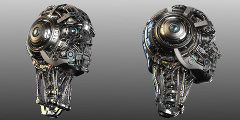 Robot Faces or two futuristic cyborg heads. Isolated on grey background. 3D Render.