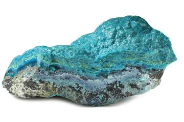 chrysocolla from Kalukuluku mine, Democratic Republic of the Congo isolated on white background
