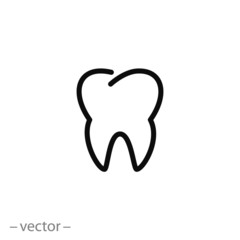 tooth, icon, line sign, vector illustration