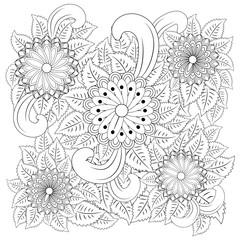 Black and white circle flower ornament, ornamental round lace design. Floral mandala.