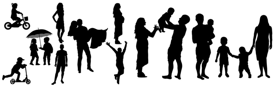 Lifetime of man and woman with childhood to adult (family life) silhouette, vector illustration.Childhood, appointment, then wedding day,  then pregnancy, then children and happy large family