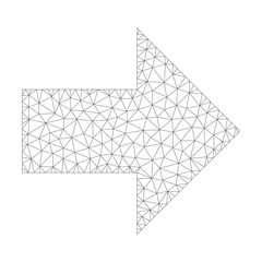 Polygonal vector arrow right icon on a white background. Polygonal wireframe dark gray arrow right image in low poly style with organized triangles, nodes and linear items.