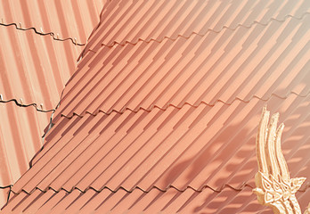 roof in living coral color