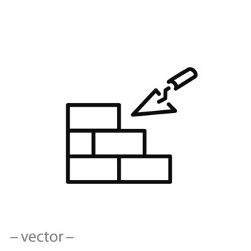 Trowel building and brick wall icon vector