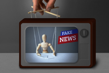 Fake News on TV. The correspondent as the doll controls the puppeteer. Lying information to trick people on TV