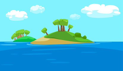 vector illustration Paradise island bounty cartoon with trees and grass
