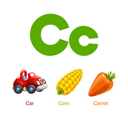 Cute children ABC animal alphabet flashcard words with the letter C for kids learning English vocabulary.