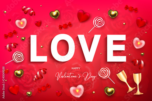 Happy Valentine's Day holiday web banner  Vector illustration with