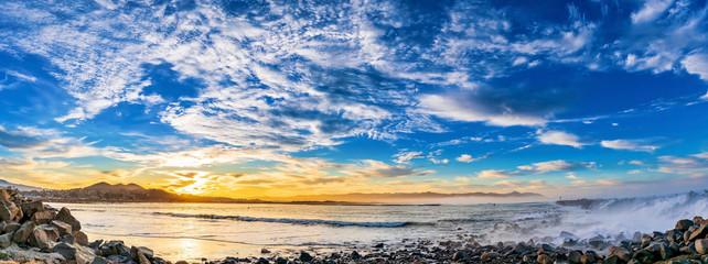 Panorama of the Beach at Dawn, Sunrise