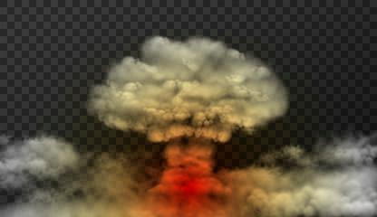 Design of bomb explode. Smoke mushroom vector illustration isolated on transparent background
