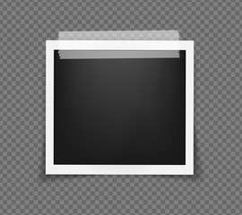 Square realistic frame template on sticky tape with shadows isolated on transparent background. Vector illustration