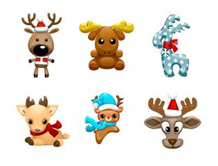 Set of vector cute Christmas reindeer vector illustration. Reindeer child sitting in Christmas red hat.