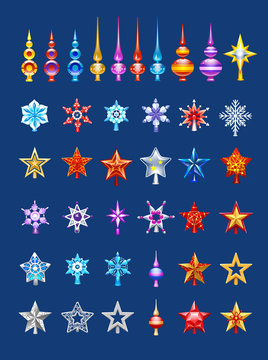 Christmas tree top set, stars, snowflake, colored icicle
