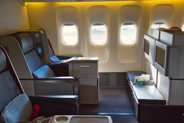 Modern airplane interiors, first class seats