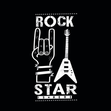 rock and roll hand rockstar is here guitar music poster kids apparel distressed