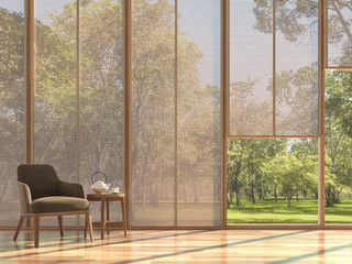 Modern contemporary living room 3d render,The Rooms have wooden floors.furnished with brown fabric chair,There are large window with wooden curtain looking out to see the nature view.