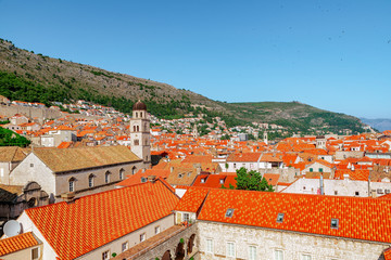 A view over Dubrovnik with St. Saviour Church in front