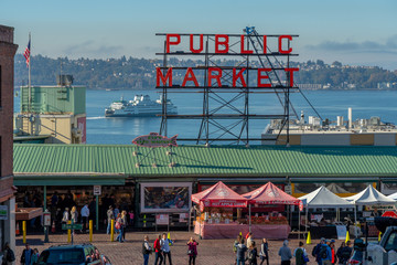 The Front of Pike Place Market - Public Market Wall mural