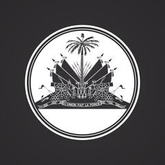 Rounded white Haiti coat of arms emblem on black background