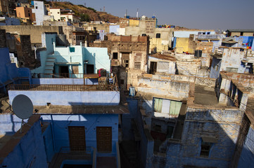 Close-up view of some roofs in the blue city of Jodhpur, India.