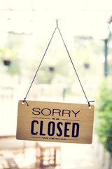 Closed sign in a shop