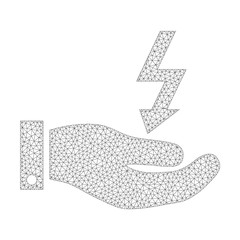 Mesh vector electric energy service hand icon on a white background. Polygonal wireframe gray electric energy service hand image in low poly style with connected triangles, points and linear items.