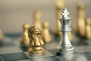 Chess game competition business concept , Fighting and confronting problems, threats from surrounding problems.