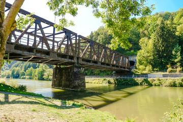 Idyllic Lahn River with Railway Bridge