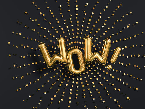 Surprised Wow exclamation golden foil balloon letters phrase on black background. 3d rendering