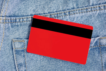 Credit card in blue classic jeans poket