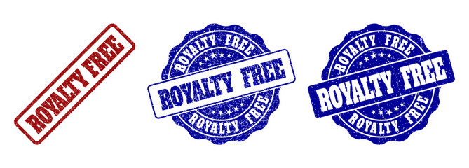 ROYALTY FREE grunge stamp seals in red and blue colors. Vector ROYALTY FREE signs with grunge style. Graphic elements are rounded rectangles, rosettes, circles and text captions.