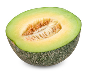 Half Melon isolated on white with clipping path