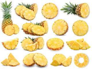 Collection Pineapple isolated on white background Wall mural