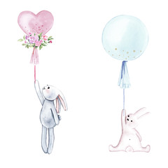 Watercolor rabbits with balloons. Isolated on white background. Perfect for children's prints, posters, invitations, etc.