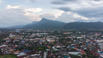Aerial view of Maesai dristict in chiangrai northernmost province of thailand.Mae Sai is a major border crossing between Thailand and the town Tachileik in Myanmar