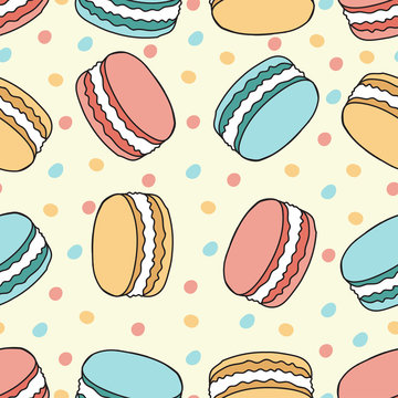 Vector cartoon seamless pattern with macarons.