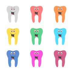 Smiling tooth icon, Tooth logo, color set