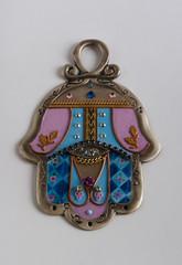 decorated silver Hamsa
