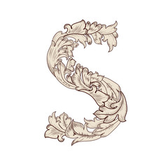 Fancy foliage uppercase letter S