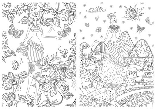 collection of nature pattern with Pretty african girls for your coloring book