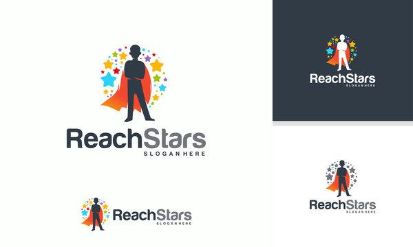 Reaching Star logo, Online Learning logo designs, Super Kids Reach Dreams logo, Kids Hero logo