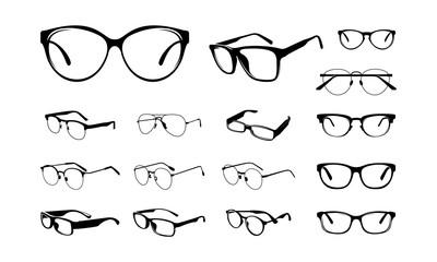 set of Various Eye Glasses Frame Silhouette vector illustration - Vector
