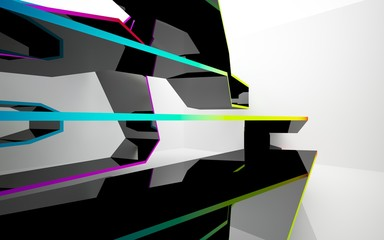 Abstract white interior of the future, with glossy black and colored gradient sculpture. 3D illustration and rendering