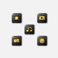 3D gold Smartphone app icons. Vector file layered for easy manipulation and customisation