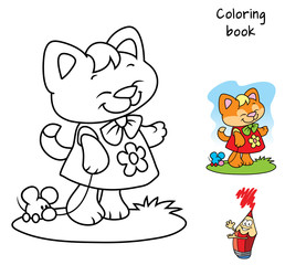 Cute little kitty with a toy mouse. Coloring book. Cartoon vector illustration