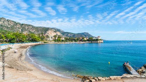 Wall mural Landscape with amazing beach Baie des Fourmis, Beaulieu sur Mer,  Cote d'Azur, France