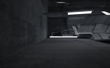 Empty dark abstract concrete room interior. Architectural background. Night view of the illuminated. 3D illustration and rendering