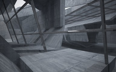 Abstract interior of concrete . Architectural background. 3D illustration and rendering