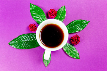 coffee is a fuel concept - a cup on a purple background